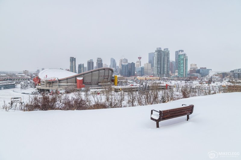 Skyline Views of Calgary in the winter from Scotman's Hill