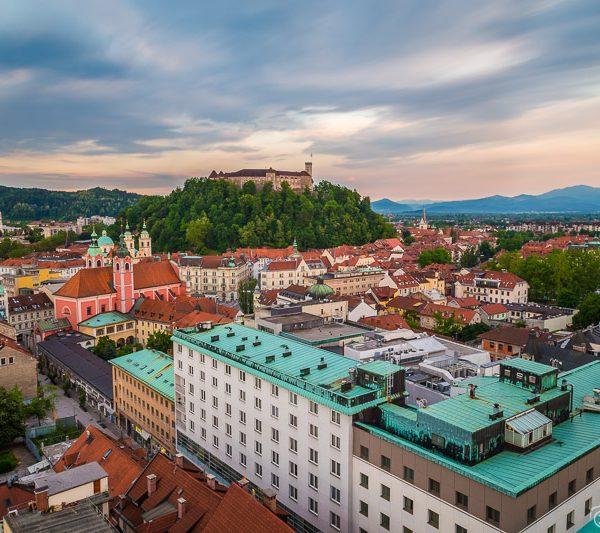 Sunsets in Ljubljana from Nebotičnik Skyscraper