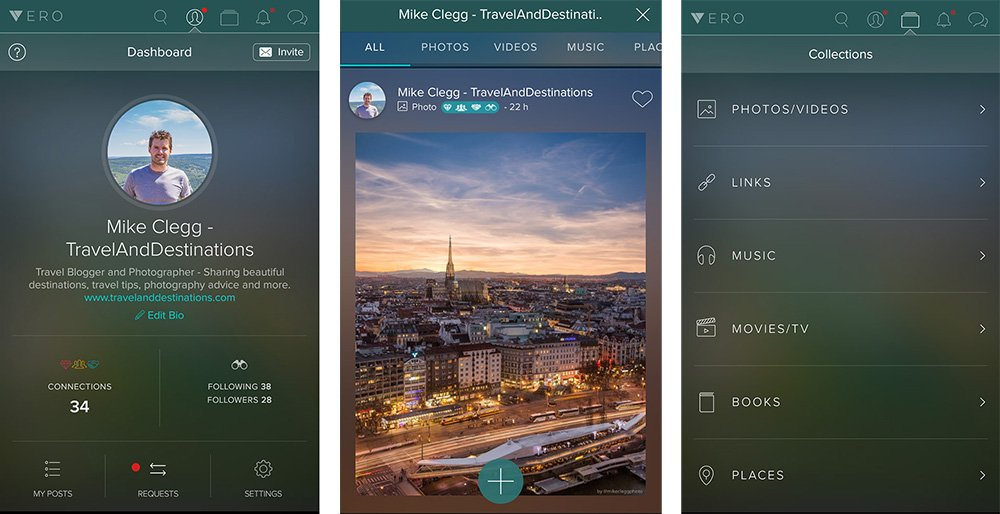 Vero User Interface Screenshots