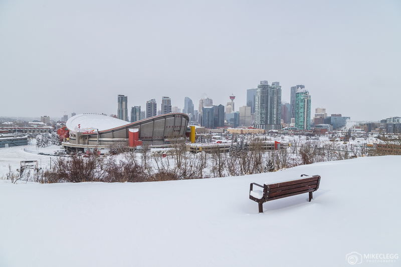 Views of Calgary in the winter from Scotman's Hill