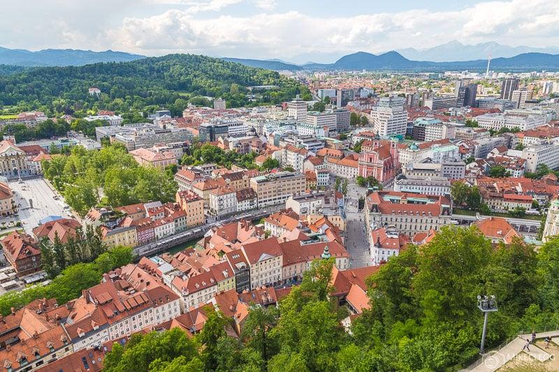 Views of the city from Ljubljana Castle