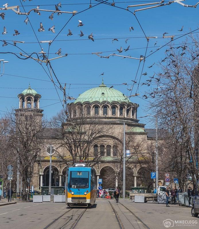 Cathedral Church Sveta Nedelya and a tram
