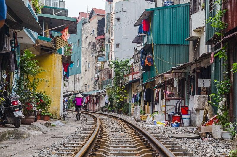 Railway track street in Hanoi, Vietnam