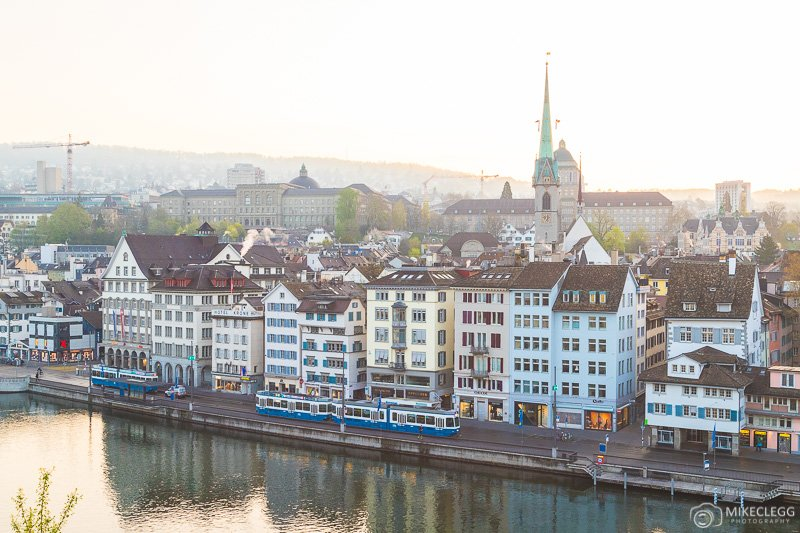 View from Lindenhof at sunrise