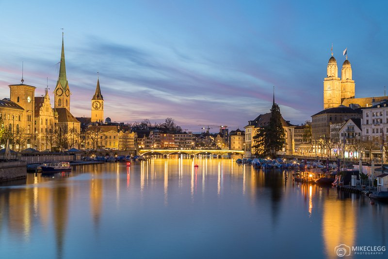Views from Quaibrücke at sunset-blue hour