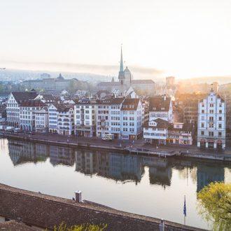 Views of Zurich Skyline at Sunrise