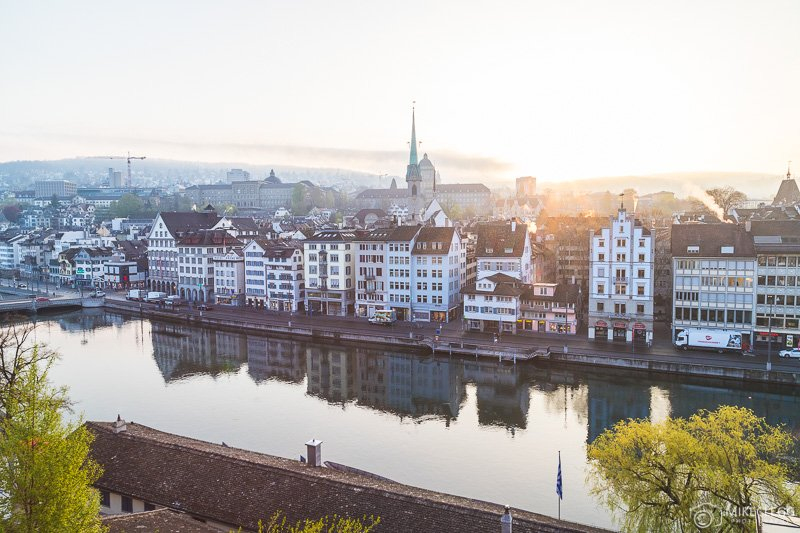 Views of Zurich Skyline at Sunrise