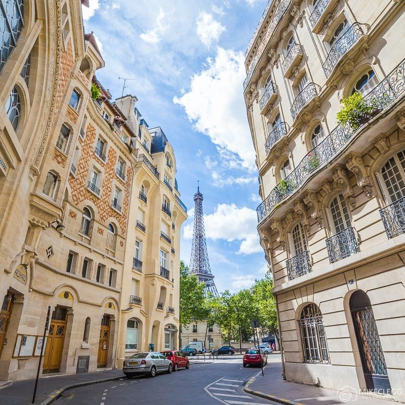 Views of the Eiffel Tower from Square Rapp, Paris