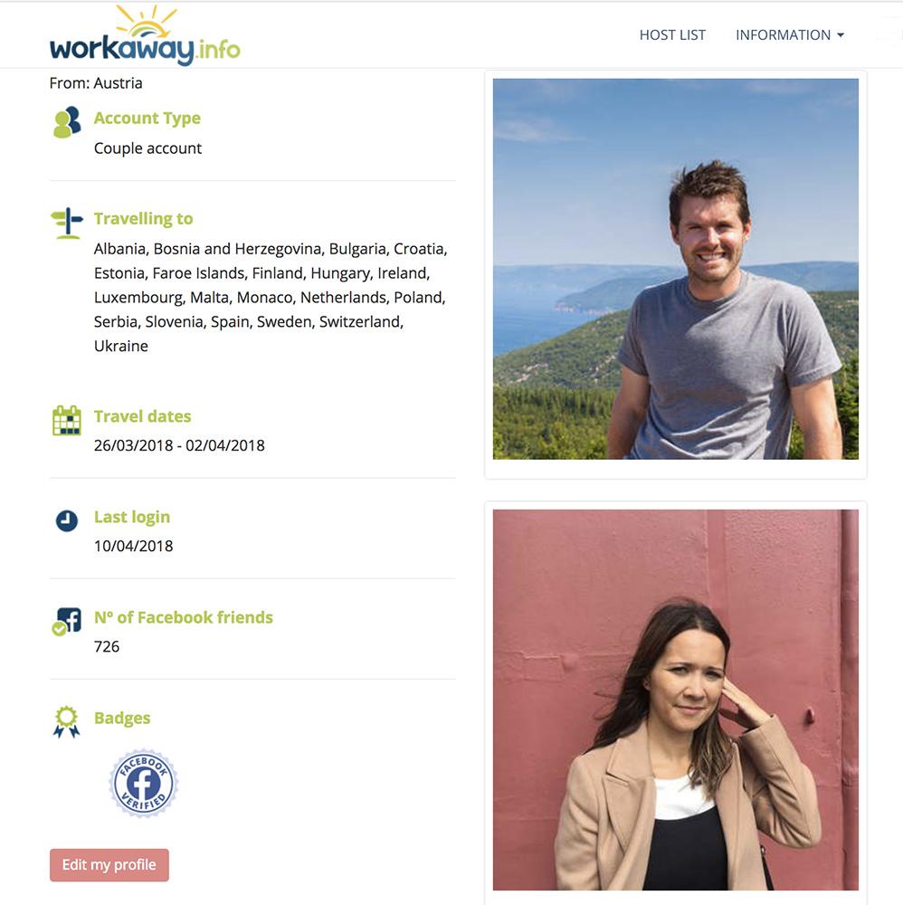 Workaway profile