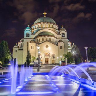 Church of Saint Sava in Belgrade at night