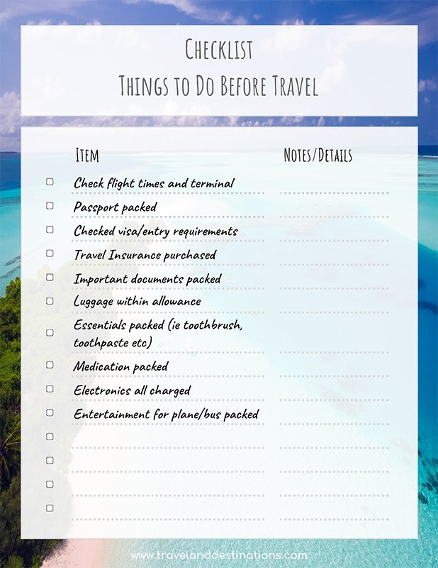 Example screenshot of checklist - Things to do before travel