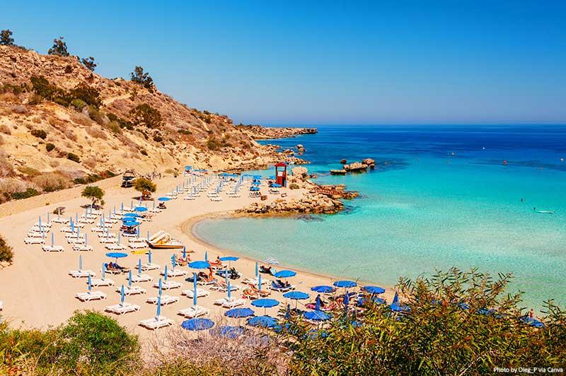 Nissi beach and Cavo Greco in Ayia Napa, Cyprus island