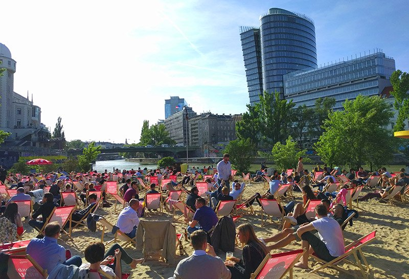 Strandbar Herrmann in Vienna during the summer