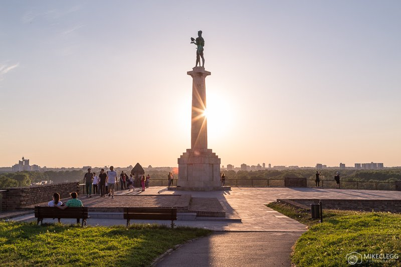 The Victor Monument in Belgrade at Sunset