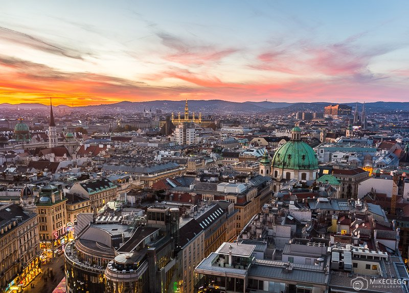 View from Stephansdom in Vienna at sunset