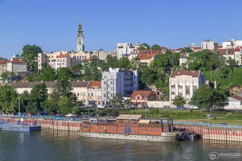 Views of the Belgrade skyline from across the River Sava