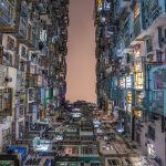 Yick Fat building in Hong Kong at night