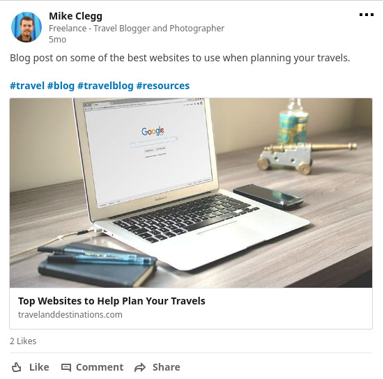 Sharing blog posts on LinkedIn