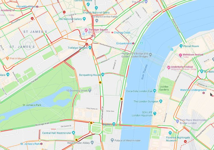 Traffic in London - Source Google Maps