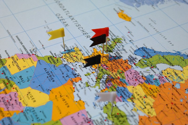 Pins on a map for a multi destination trip - CC0 (Pixabay)