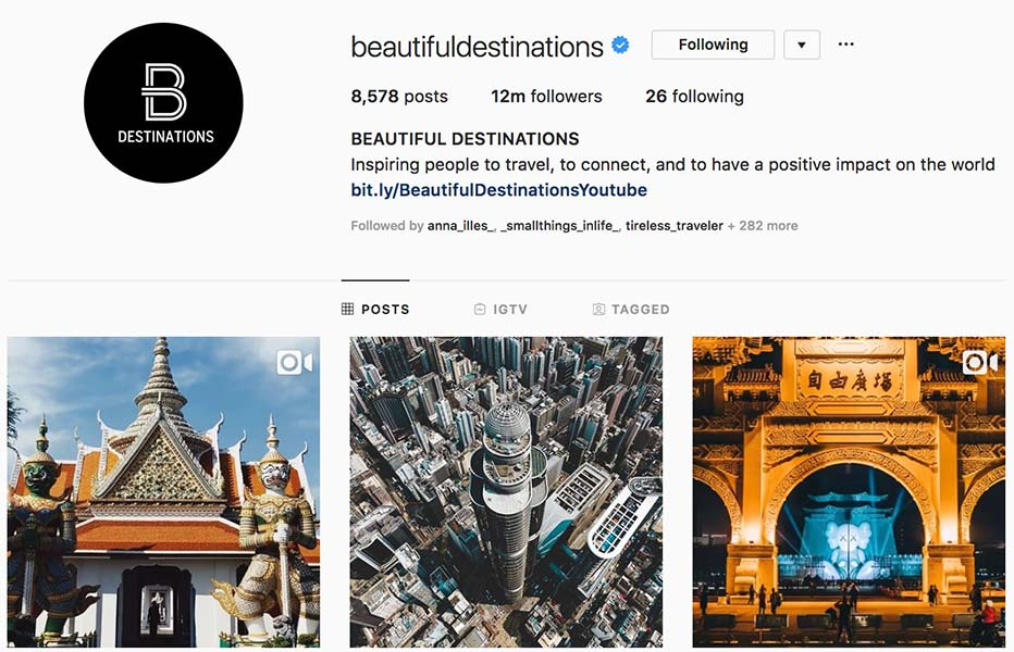 @beautifuldestinations - Instagram hub profile screenshot