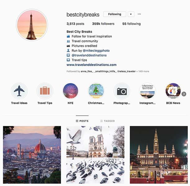@bestcitybreaks - Instagram hub profile screenshot