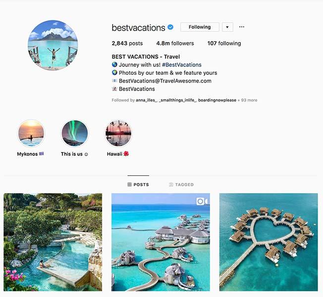 @bestvacations - Instagram hub profile screenshot
