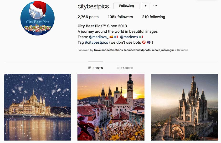 @citybestpics - Instagram hub profile screenshot