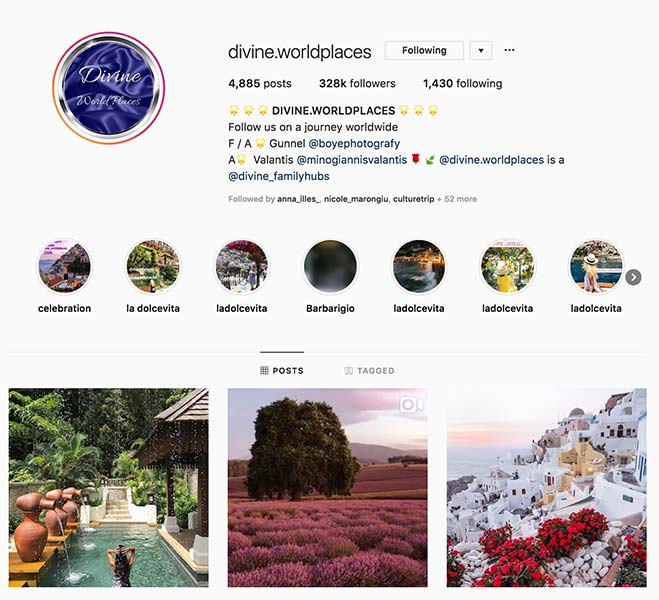 @divine.worldplaces - Instagram hub profile screenshot