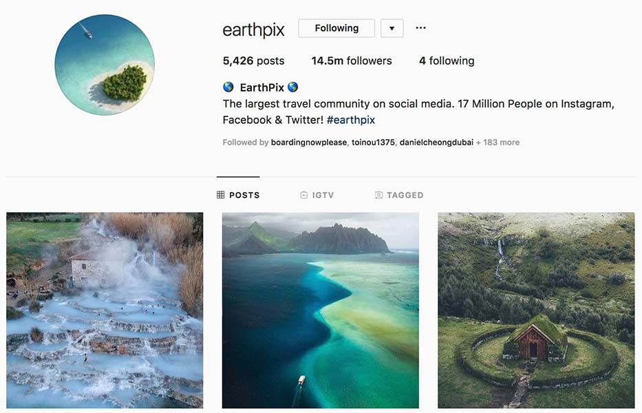 @earthpix - Instagram hub profile screenshot