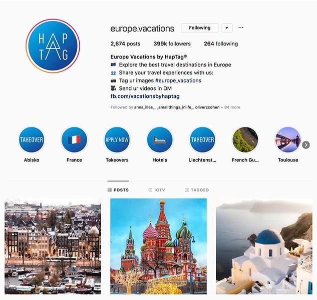 @europe.vacation - Instagram hub profile screenshot