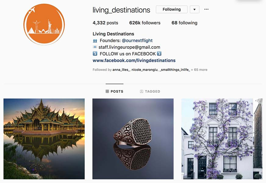 @living_destinations - Instagram hub profile screenshot