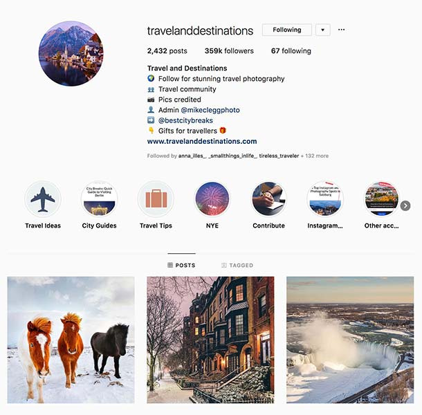@travelanddestinations - Instagram hub profile screenshot