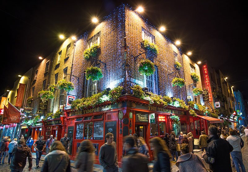 Dublin, Ireland at night - Temple bar