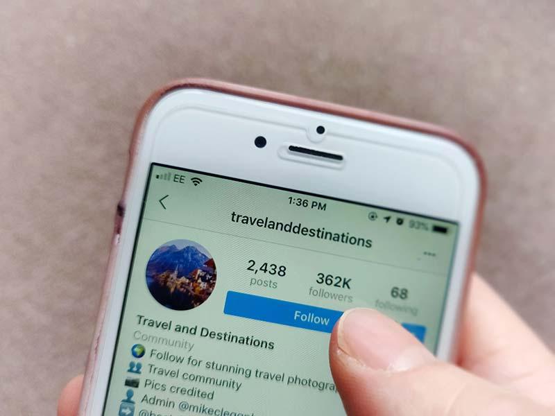Following travel hubs on Instagram