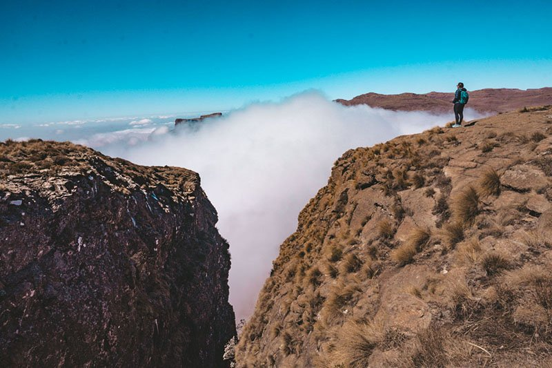 Looking above the clouds on the Amphitheatre hike - Lesotho