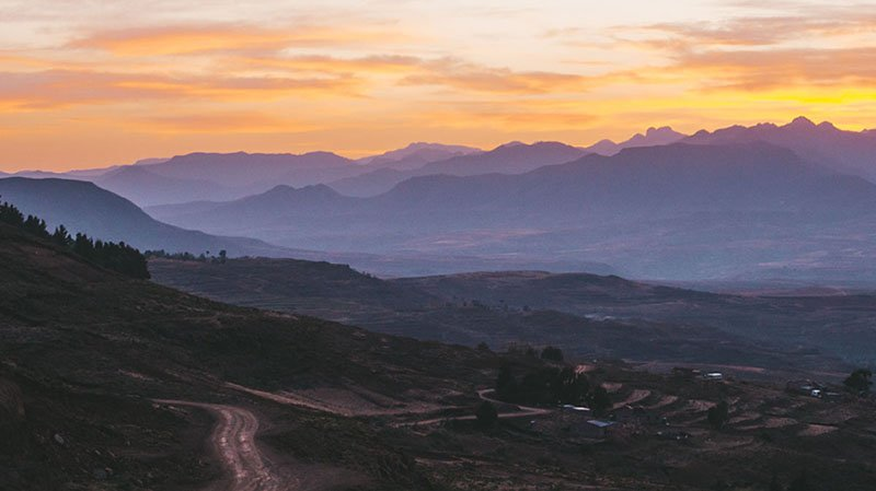 Sunrise on the route into Lesotho