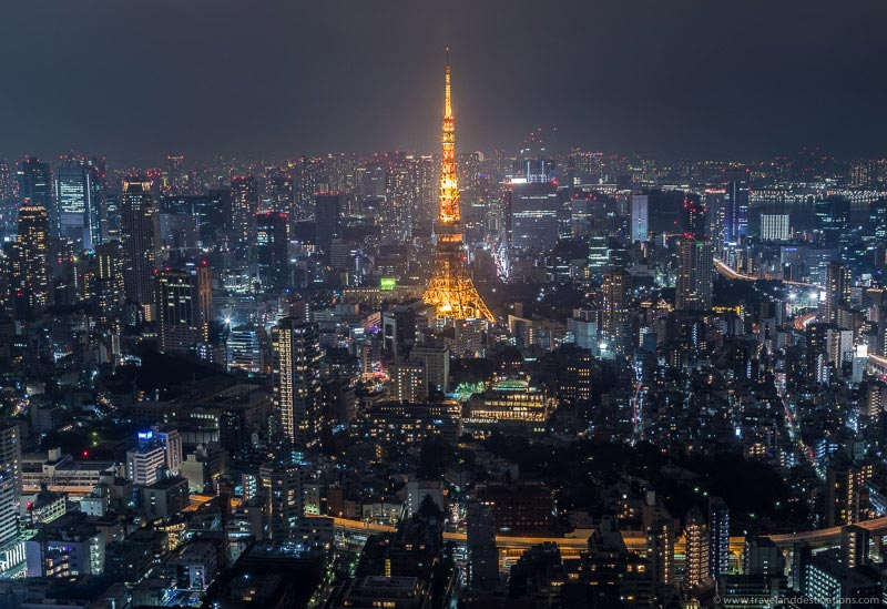 Classic views of the Tokyo Tower and the skyline from Tokyo City View observation deck