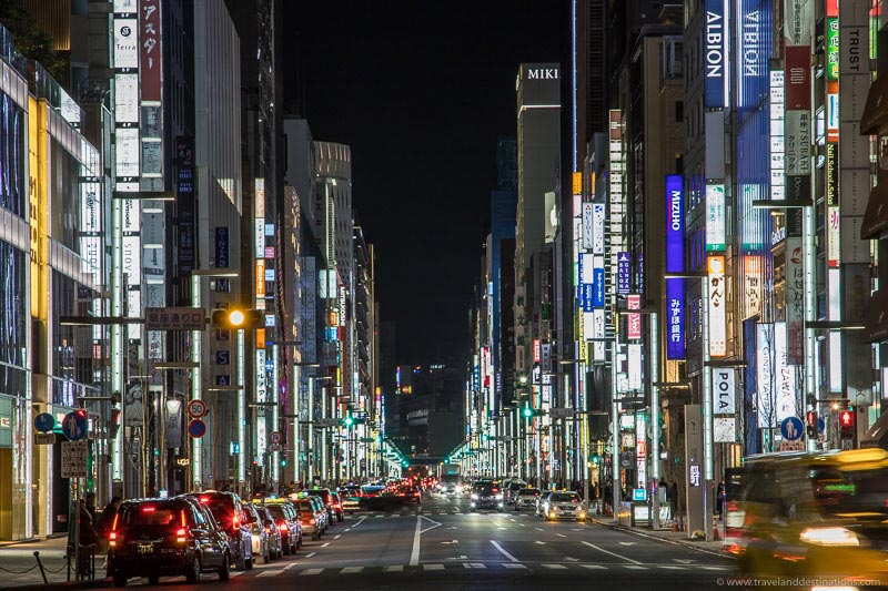 Views along Ginza in Tokyo at night