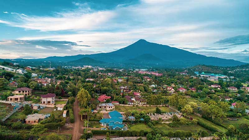 Arusha skyline and Mount Meru