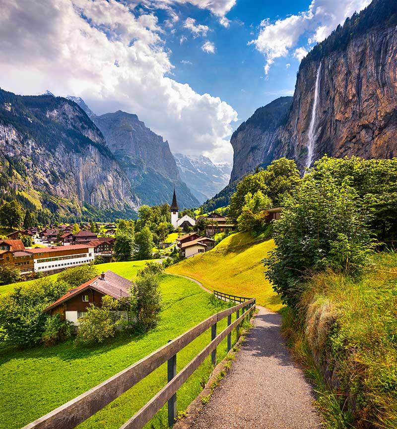 Colorful summer view of Lauterbrunnen village