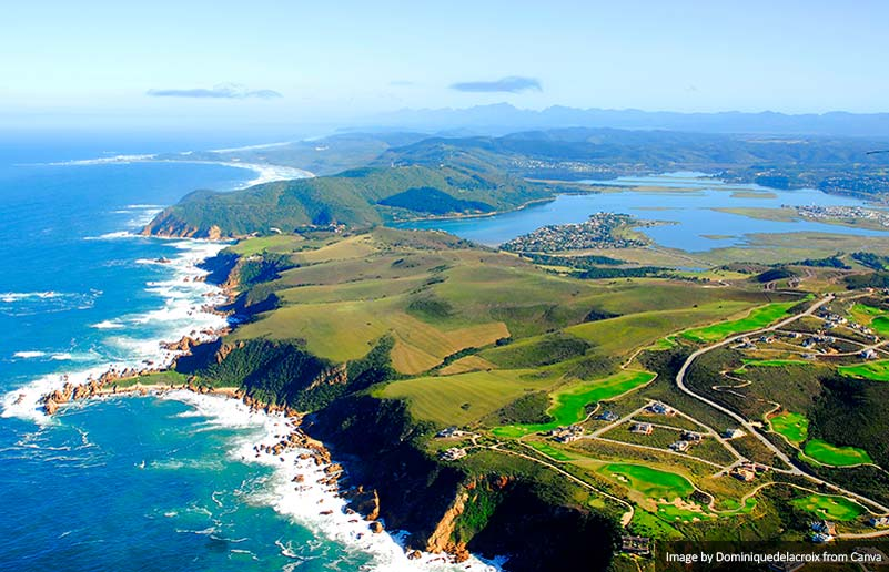Aerial view of Knysna, Garden Route South Africa