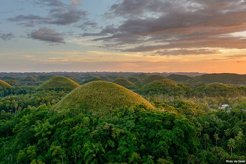 Chocolate hills on Bohol in the Philippines