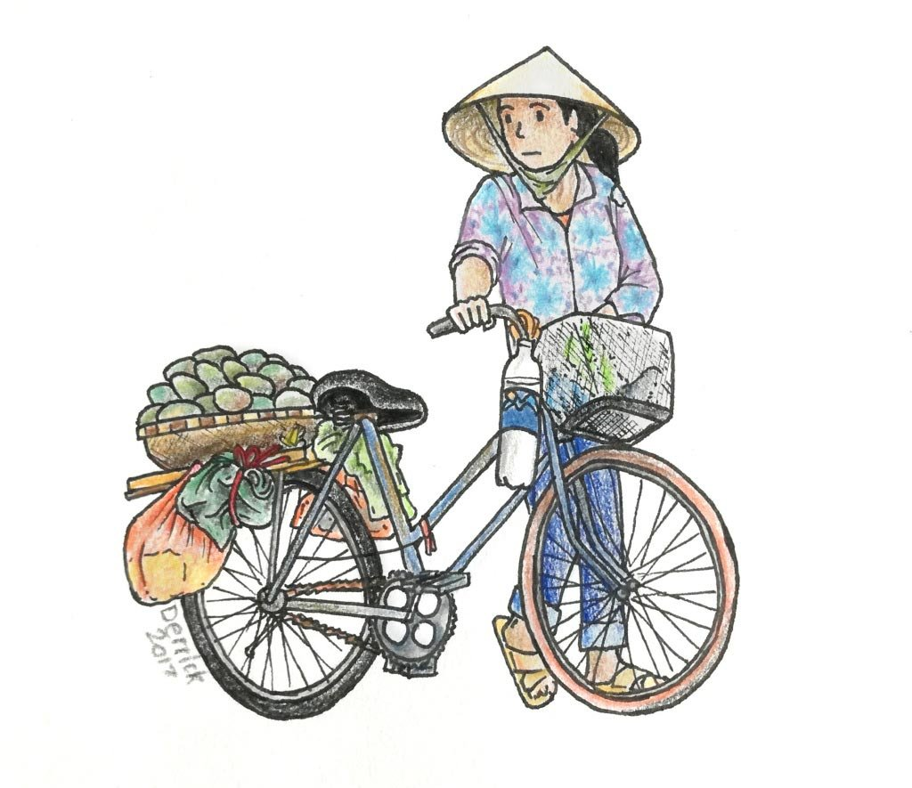 Local lady in Hanoi, Vietnam | Sketch by Derrick Theys