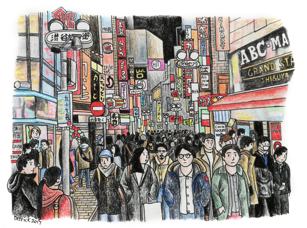 Shibuya in the heart of Tokyo | Sketch by Derrick Theys