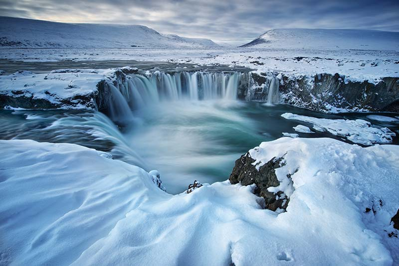 Godafoss waterfall in the winter
