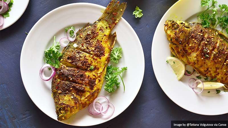 Grilled and marinated fish