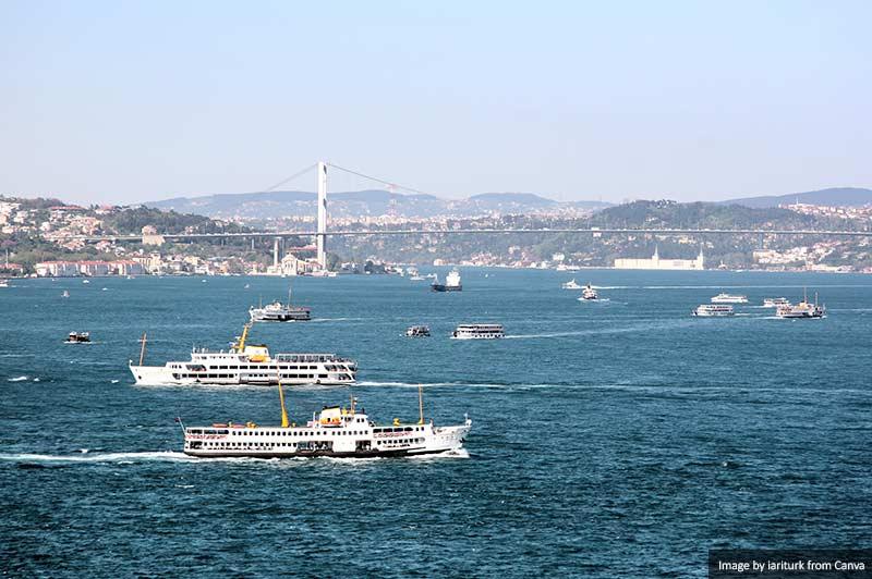 Bosporus with boats