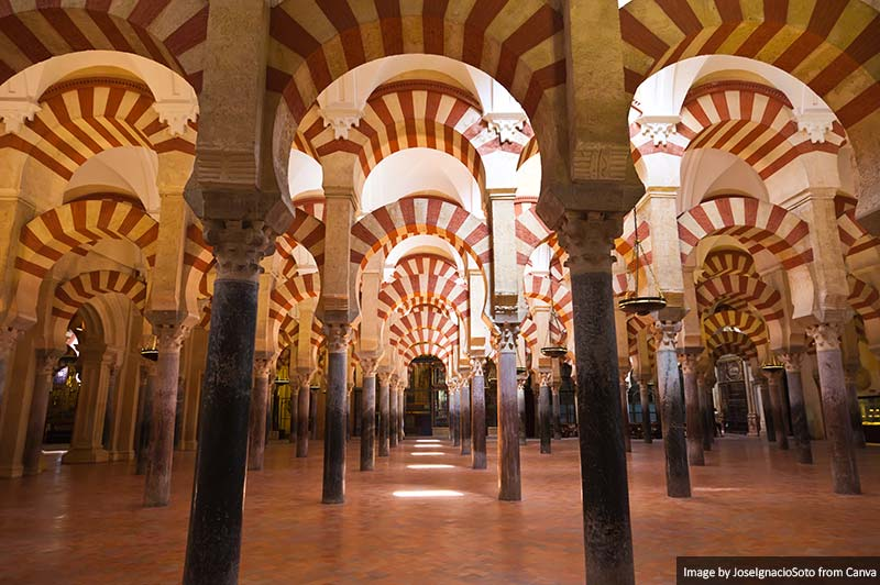 Columns forest located in Cordobas Mosque, Spain