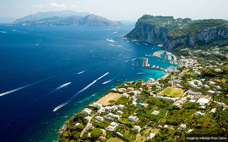 High view of Capri island